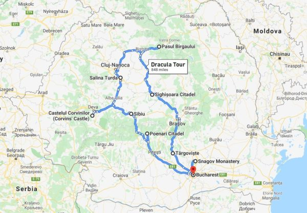 awarded Transylvania Dracula tour -map