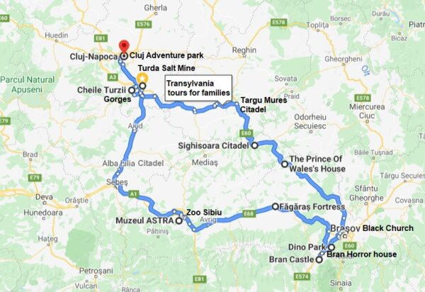 self guided Transylvania private guided tours for families-map